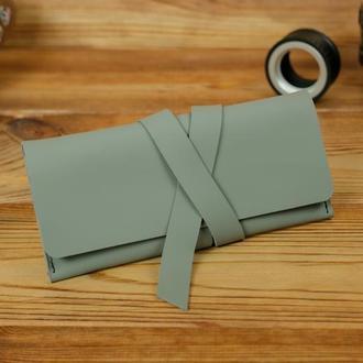 Кожаный кошелек, клатч с закруткой, матовая кожа Grand, цвет серый