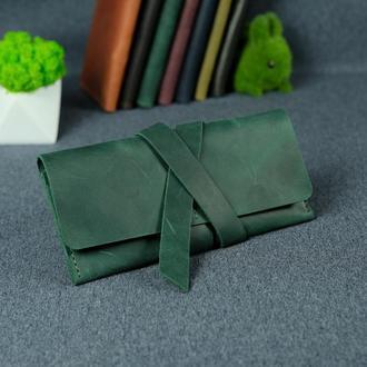 Кожаный кошелек, клатч с закруткой, винтажная кожа Crazy Horse, цвет зеленый