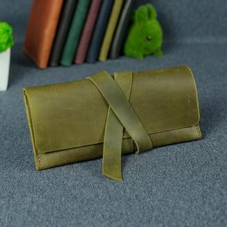 Кожаный кошелек, клатч с закруткой, винтажная кожа Crazy Horse, цвет оливковый