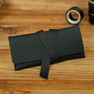 Кожаный кошелек, клатч с закруткой, матовая кожа Grand, цвет черный