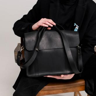 Минималистичная деловая мужская сумка ручной работы из натуральной винтажной кожи черного