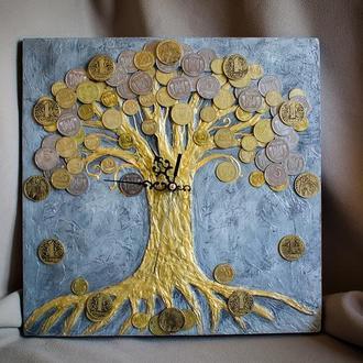 Часы в стиле лофт ′Денежное дерево′