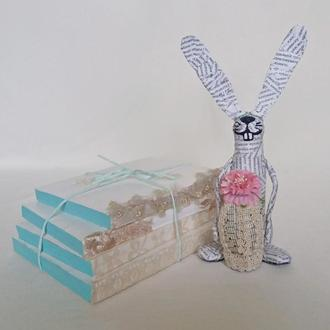 Фигурка счастливого пасхального кролика с декоративным яйцом, пасхальный подарок