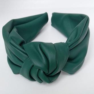 Обруч на голову зеленый чалма из искусственной кожи