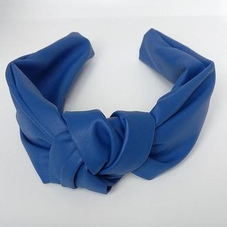Обруч на голову синий чалма из искусственной кожи