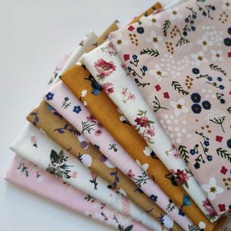 Набор хлопка из 7 отрезов с цветочным принтом