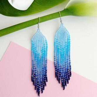 Голубые серьги из бисера | Серьги градиент | Длинные серьги