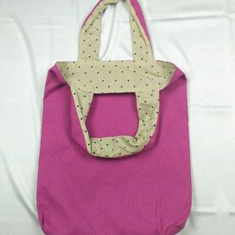 Экосумка розовая, шоппер, екосумка київ, эко-сумка хлопковая киев, авоська, шоппер фуксия