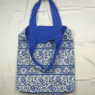 Экосумка синяя, шоппер, екосумка київ, эко-сумка хлопковая киев, авоська, шоппер узор