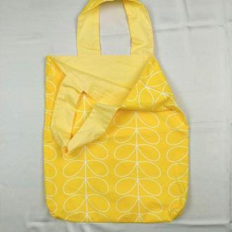 Экосумка минимализм, желтый шоппер, екосумка київ, эко-сумка хлопковая киев, авоська, шоппер листья