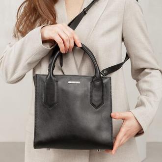 Кожаная женская сумка-кроссбоди черная - BN-BAG-28-g