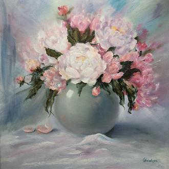 """Картина маслом на холсте """"Нежность"""" пионы розовые цветы в вазе"""