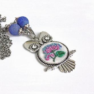 Большой кулон сова со стразами Голубой кулон с цветами и агатом Весеннее летнее украшение Гортензия