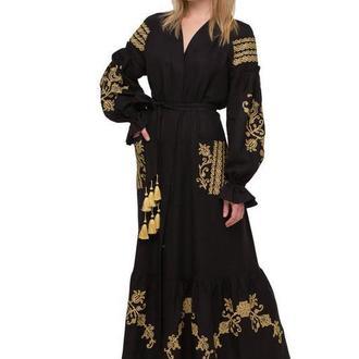 """Сукня вишиванка """"Східний сад"""" чорна"""