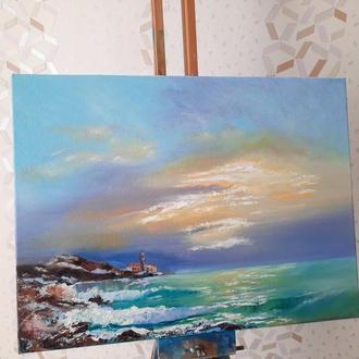 """Картина маслом  """"Море"""" на холсте"""