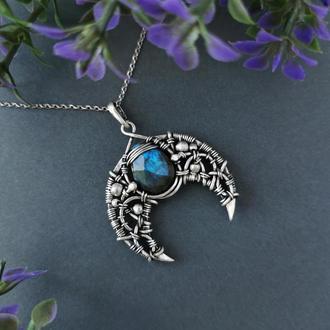 Серебряная Лунница с синим лабрадором. Женский кулон талисман. Оригинальный подарок девушке