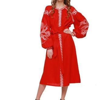 Сукня вишиванка «Веснянка» бордо
