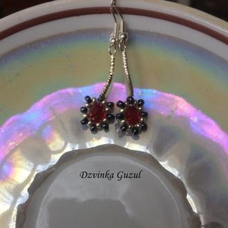 Серьги серебро 925 украшение серебряные сережки dzvinka guzul тренд аметист хризопраз рубин подарок