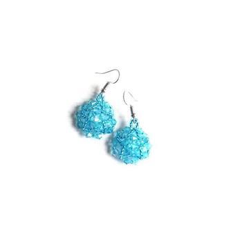 Серьги голубые блестящие Красивые серьги ручной работы на подарок