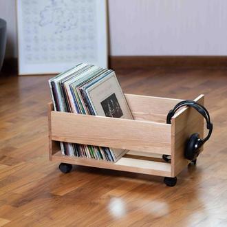 Ящик-подставка для пластинок. Дубовый ящик для винилов.