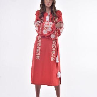 Сукня вишита «Невісточка» марсала