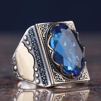 Квадратное кольцо с огромным камнем в исламском стиле восточного дизайна ручной работы