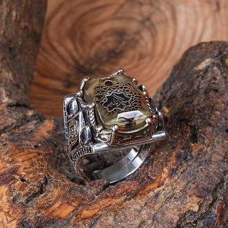 Серебряное кольцо перстень с арабской надписью Alhamdulillah перевод Слава Богу за все