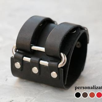 Широкий кожаный браслет уникального внешнего вида, код 3107