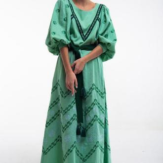 Сукня вишита Леля зелена