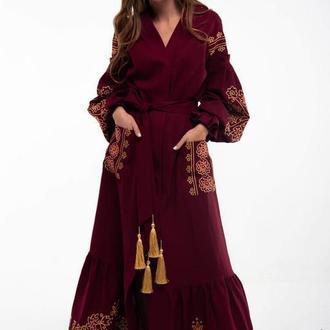 Сукня вишита Дика вишня бордо