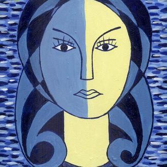 Берегиня, хранительница. Женский портрет, образ. 15x20 см. Акриловая живопись