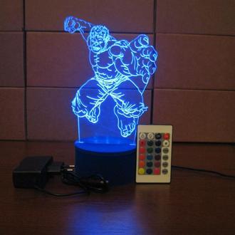 Светильник ночник игрушка Халк, подарок, для ребенка, для мужчины, супергерой, сувенир, интерьер