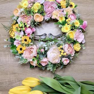 Пасхальный весенний венок великодній весняний вінок пасхальная композиция