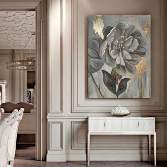 Стильна інтер'єрна картина Квітка із золотою поталью абстракція