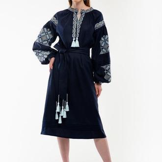 Сукня вишиванка Спадок темно-синя
