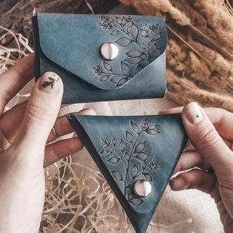 Набор кожаные кардхолдер и монетница с ручной гравировкой