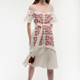 Сукня вишиванка Ягідка молочна