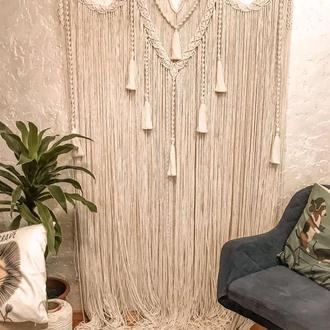 Макраме штора Айворі, арка, фотозона на весілля в стилі бохо, еко стиль