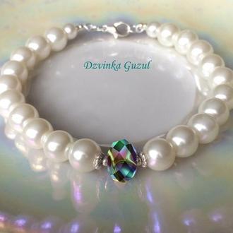 Браслет жемчуг кристаллы Сваровски свадьба украшение невесты серебро 925 dzvinka guzul тренд подарок