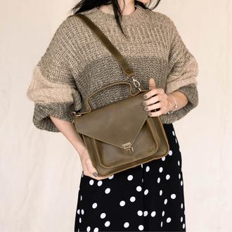Женская деловая сумка  из винтажной натуральной кожи фисташкового цвета