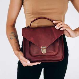Женская деловая миниатюрная сумка  из винтажной натуральной кожи бордового