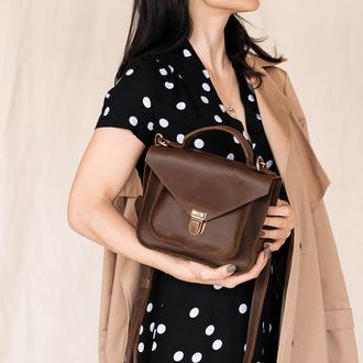 Женская деловая миниатюрная сумка из винтажной натуральной кожи коричнево
