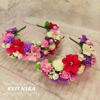 Большие яркие венки с цветами. Яркие обручи для мамы и дочки на фотосессию или день рождение