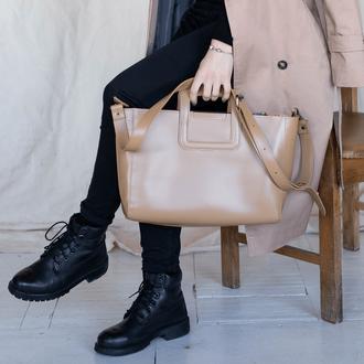 Женская сумка с съемным плечевым ремнем из натуральной кожи цвета капучино