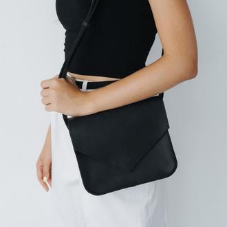 Стильная и универсальная женская сумка через плечо ручной работы из натуральной кожи черног