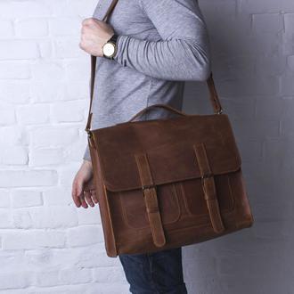 Практичная мужская сумка для документов или ноутбука ручной работы из винтажной натуральной