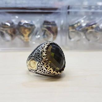 Религиозный перстень из серебра с камнем Султанит ручной работы с гравировкой