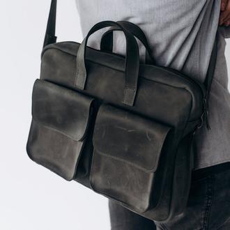 Мужская винтажная деловая сумка ручной работы из натуральной кожи темно-серого цвета