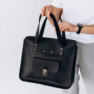 Универсальная женская деловая сумка ручной работы из натуральной винтажной кожи черного цве