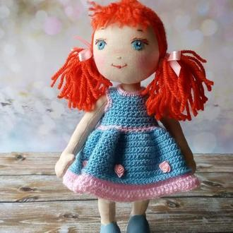 Текстильная кукла. Кукла с вышитым лицом.